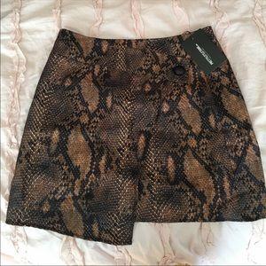 Brown snakeskin wrap skirt